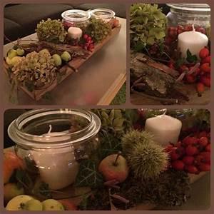 Deko Ideen Kerzen Im Glas : herbstdekoration herbst dekoration kerzen efeu hortensie hagebutte kastanie rinde glas pfel ~ Bigdaddyawards.com Haus und Dekorationen