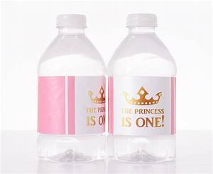 princess first birthday bottled water labels labelsrus With first birthday water bottle labels