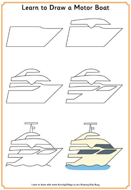 How To Draw A Boat Car by Learn To Draw A Motor Boat