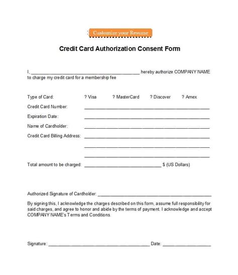 credit card authorization forms templates ready
