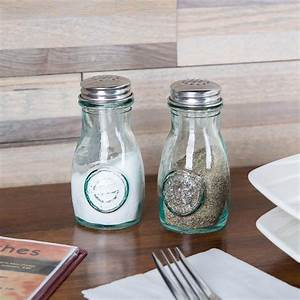 Tablecraft, 6618, 4, Oz, Authentic, Collection, Recycled, Green, Glass, Salt, And, Pepper, Shakers, With