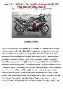 Honda Rvt1000r Rc51 Service Repair Manual 200 By