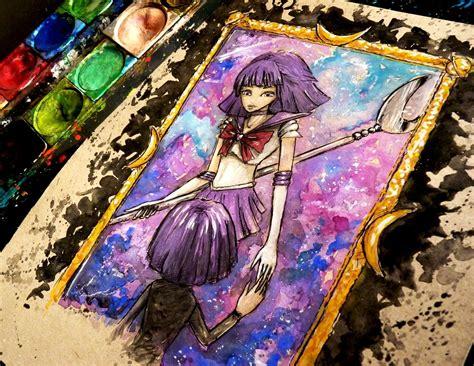 watercolor anime sailor saturn watercolor time lapse painting sailor