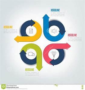 Four Steps Circle Arrow Infographic Scheme  Template