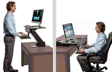 convert your desk to a stand up desk adjustable height gas spring easy lift standing desk sit