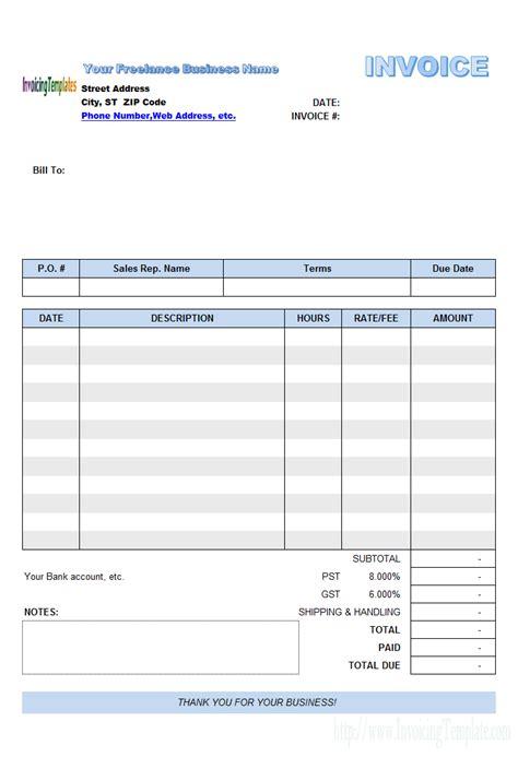 freelance invoice template excel invoice