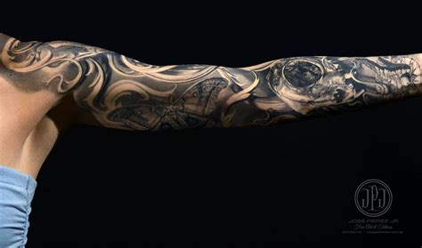 Cat Skull Nature Sleeve Jose Perez Tattoonow