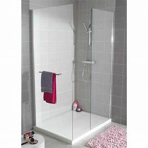paroi de douche influence droite verre transparent With porte d entrée pvc avec lapeyre salle de bains douche italienne