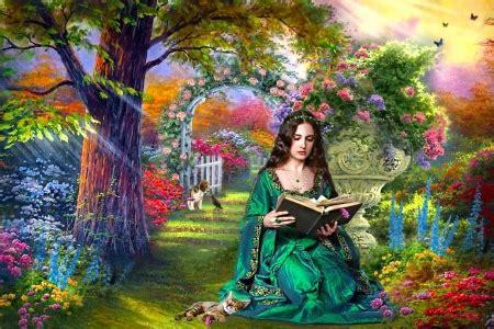 girl reading   garden fantasy abstract background