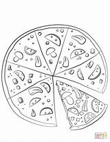 Pizza Coloring Pages Sliced Drawing Printable Paper Dot sketch template