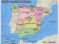 Mapa de España comunidades autónomas y capitales