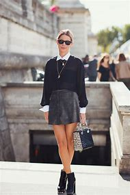 Black Leather Skirt Street-Style