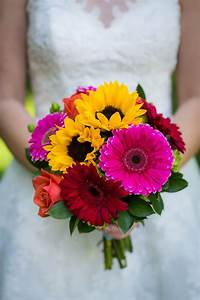 colorful gerbera and sunflower bridal bouquet