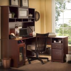 bush cabot 60 quot l shaped w hutch harvest cherry computer desk ebay