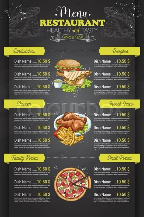 restaurant vertical color menu design  blackboard