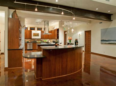 Modern Kitchen With Curvilinear Island & Track Lighting  Hgtv