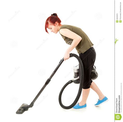 young woman   vacuum cleaner royalty  stock