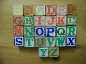 vintage antique childrens toy a z 26 small wooden alphabet With small wooden block letters