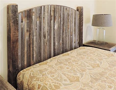 Farmhouse Style Arched King Bed Barn Wood Headboard w/ Narrow Rustic Reclaimed Wood Slats