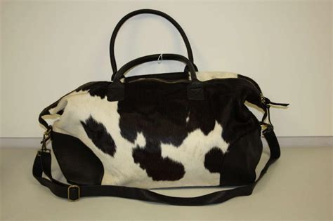 Cowhide Overnight Bag - found object cowhide with fur weekender duffle bag