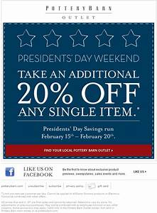 pottery barn 20 off printable coupon With 20 pottery barn coupons