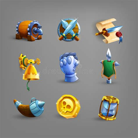 set  decoration icons  games collection  scrolls