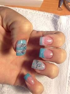 Nautical acrylic nail | Blacks and pinks | Acrylic nails ...