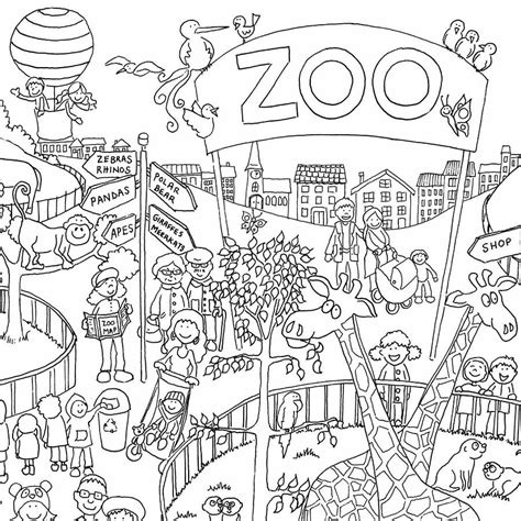 zoo colouring  poster   giant posters