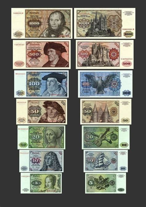 5 1000 deutsche 14 banknoten ausg 1960 1970 80 bbk