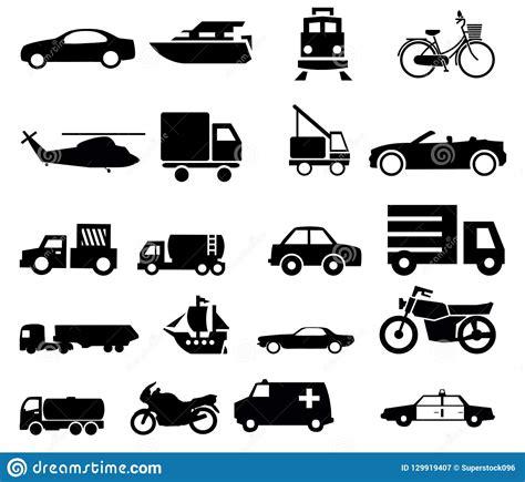 Siluetas Del Tráfico Del Transporte Del Vehículo