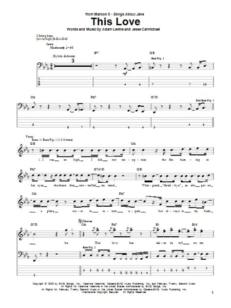 maroon 5 this love chord this love sheet music maroon 5 bass guitar tab