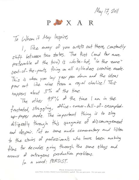 Pixar Animators Motivational Persistence Of Vision Letter. Business Moving Announcement Template. Editable Newsletter Template Free. Inventory Template For Excel. Weekly Lesson Planning Template. Michigan State University Graduate School. Job Offer Letter Template. Mac Pages Resume Template. Payment Agreement Contract Template
