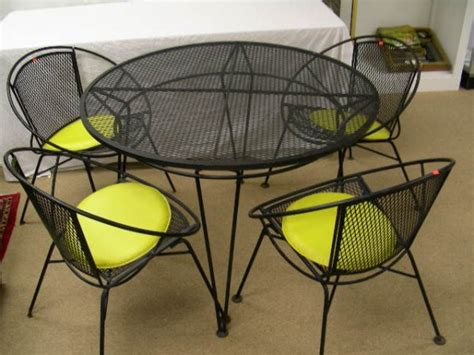 5 pc wrought iron mesh patio furniture black 1317285