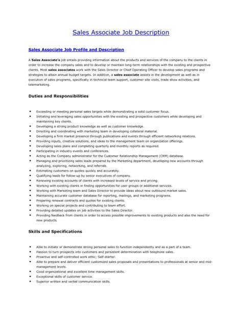 retail sales associate resume description sles of