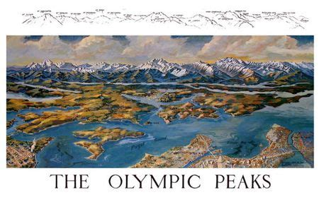 olympic mountains peaks map  pargeter