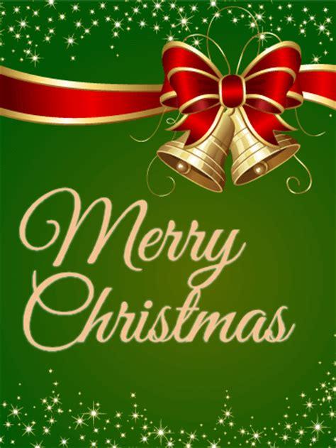 sparkling green merry christmas card birthday greeting