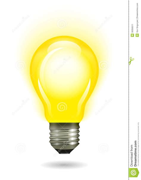 yellow light of glowing yellow light bulb as inspiration concept stock