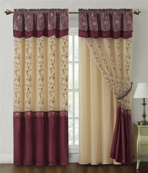 Burgundy Window Curtain Drapery Panel W Attached Backing