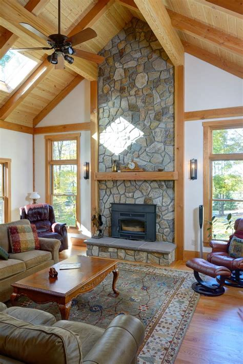 family room  vaulted ceiling  stone fireplace  stone continues    chimney