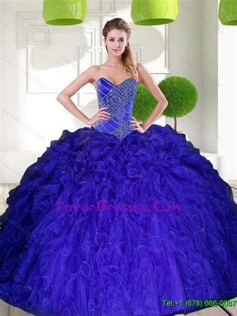 western peacock blue sweetheart beading ball gown