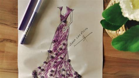 draw  beautiful evening dress youtube