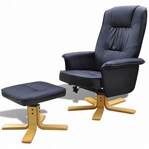 Fauteuil Repose Pied : fauteuil en cuir artificiel avec repose pied noir ~ Teatrodelosmanantiales.com Idées de Décoration