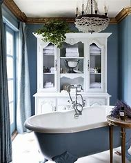 French Blue and White Bathroom