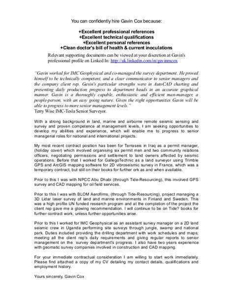 Cover Letter For Land Surveyor Resume by Cover Letter Gavin Cox Seismic