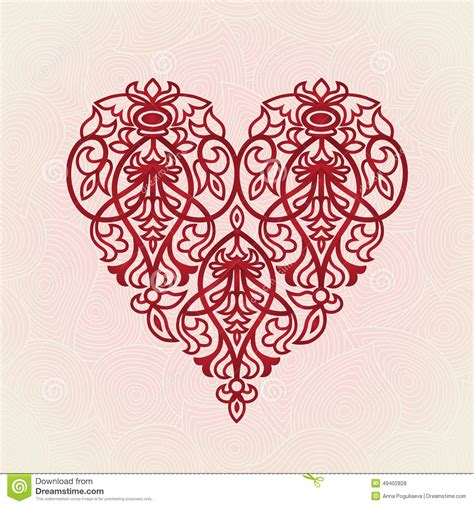 ornate red heart  pink seamless background stock vector