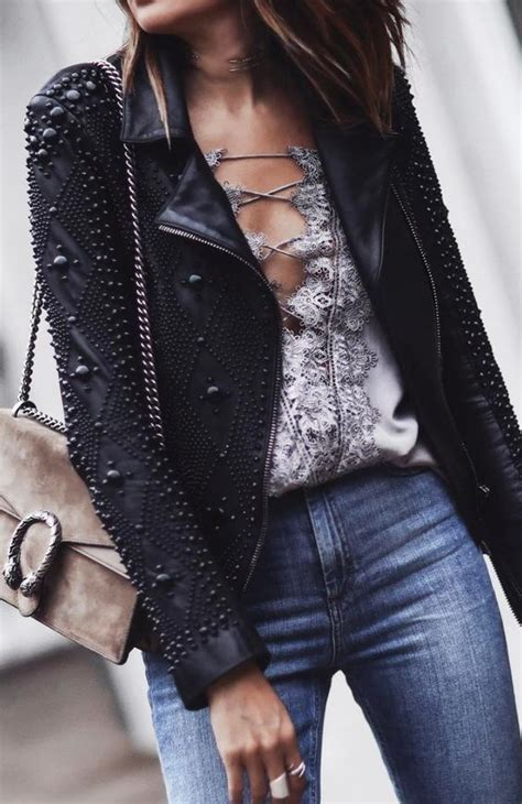 Street Style Leather Jacket Outfits