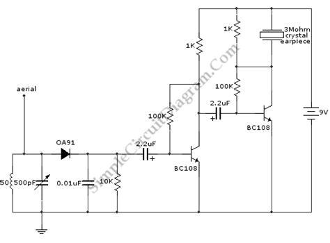 Two Transistors Radio Receiver Simple Circuit Diagram