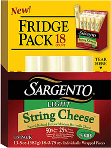 sargento string cheese light mozzarella 75 oz 18 0 ct