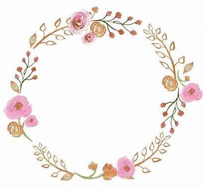 Gold Pink Wreath Clipart Frame Floral Border