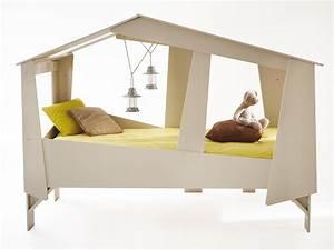 Sommier 90 X 200 : lit cabane 90x200cm beige sommier inclus ~ Teatrodelosmanantiales.com Idées de Décoration